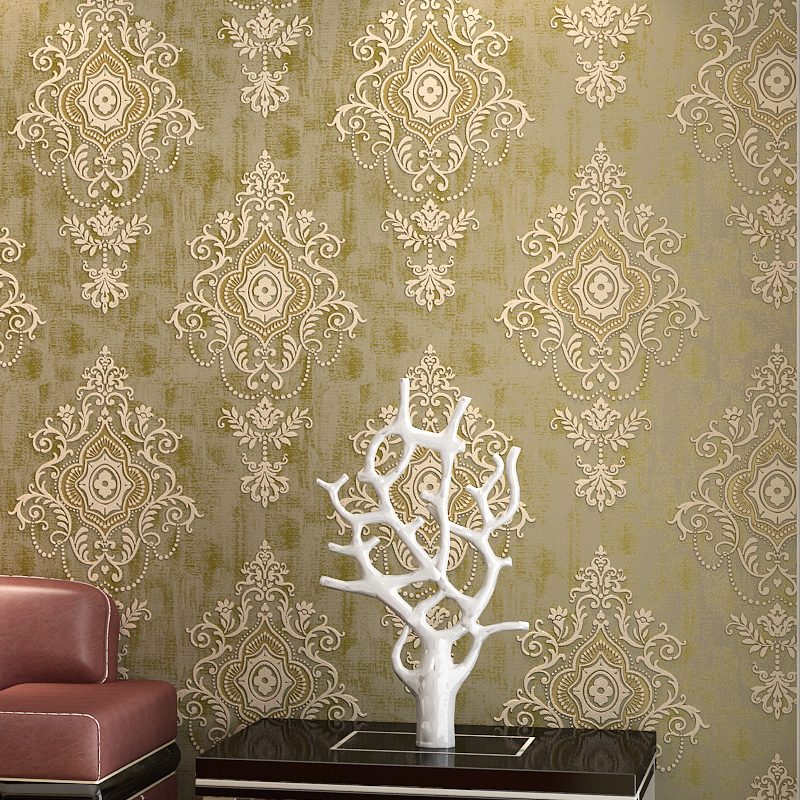 Beige 3D Non-woven Damask Wallpaper Wall Covering Roll European Style Living Room Bedroom TV Background Wall Papers Home Decor modern non woven floral wallpaper flower 3d embossed texture for bedroom living room tv sofa background wall decor covering