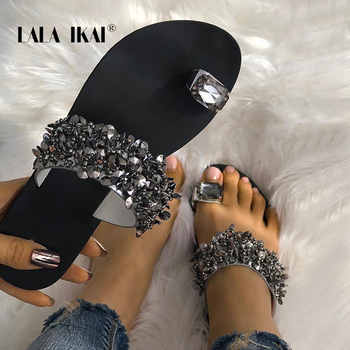 LALA IKAI Rhinestone Women Slippers Summer Outdoor Crystal Bling Beach Ladies Slides Fashion Flat Shoes 014A3725-4 - DISCOUNT ITEM  40 OFF Shoes