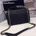2016 Summer Autumn New Style Women Bags Famous Brand Genuine Leather Lady Handbags V Pattern Chain Shoulder Bags Women Flap Bags