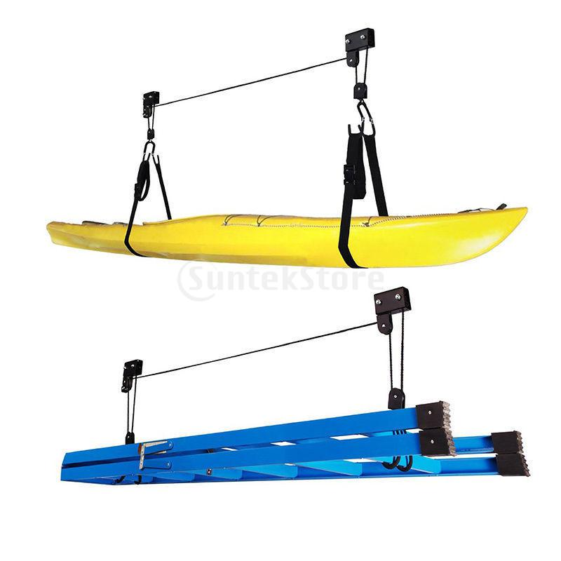 Canoe Boat Kayak Hoist Pulley System Bike Lift Garage Ceiling Storage Rack недорго, оригинальная цена