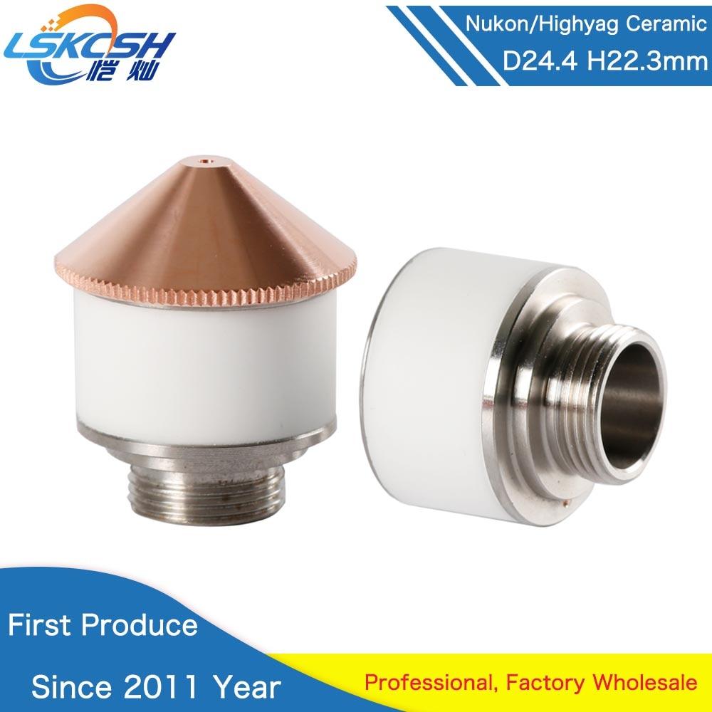 LSKCSH 10pcs lot Highyag Nukon Laser Ceramic Nozzle Holder Diameter 24 4mm Height 22 3mm For