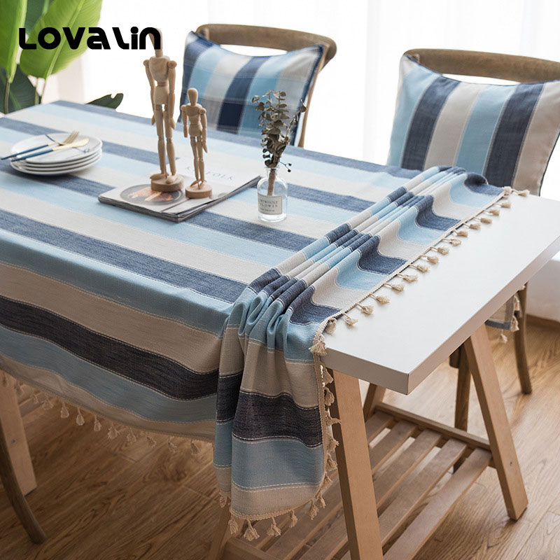 Lovalin Geometric Table Cover Simple Tablecloth Striped Rectangle Home Kitchen Table Cloth Banquet Wedding Manteles Customized
