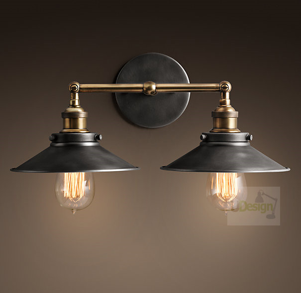 Free shipping America style  vintage copper wall lamp edison iron +TWO E27 Lamp holder  5002L-Dia21Free shipping America style  vintage copper wall lamp edison iron +TWO E27 Lamp holder  5002L-Dia21