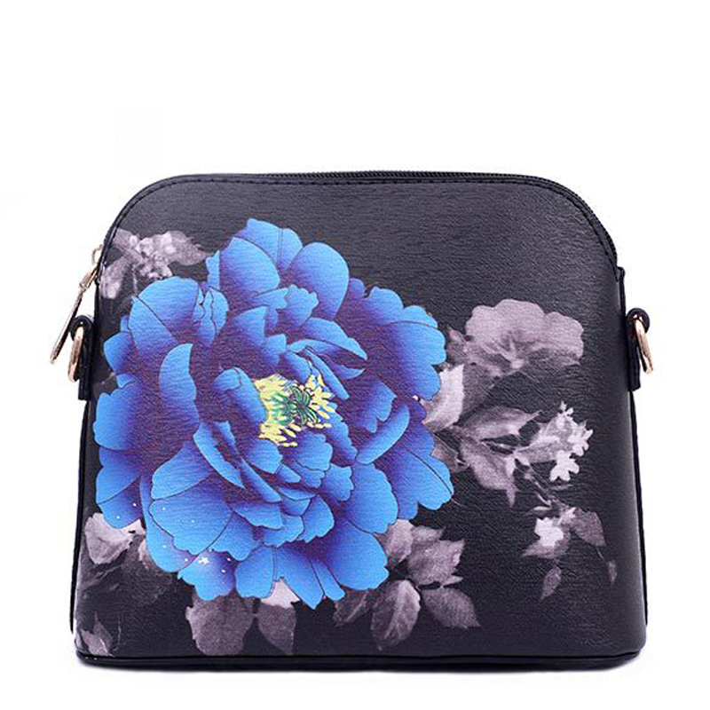New Arrival Women Pu Leather Shoulder Bag Cartoon Style Flower Printing Women's Casual One Shoulder Bags Messenger Bag 2017 new arrival women envelope shoulder bag high quality pu leather messenger bags fashion style women bag yellow st9340