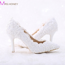 Pointed Toe White Lace and Pearl Bridal Wedding Shoes Women Thin Heel Comfortable Dancing Shoes Handmade Birthday Party Pumps