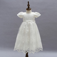 Baby long lave dress white wedding dress baptism dress 2019 vestidos New toddler girls clothes cute child girls outfits