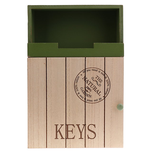 Phenovo Wall Mounted Wooden Mail Key Organizer Letter Holder Great For Home Garden Green