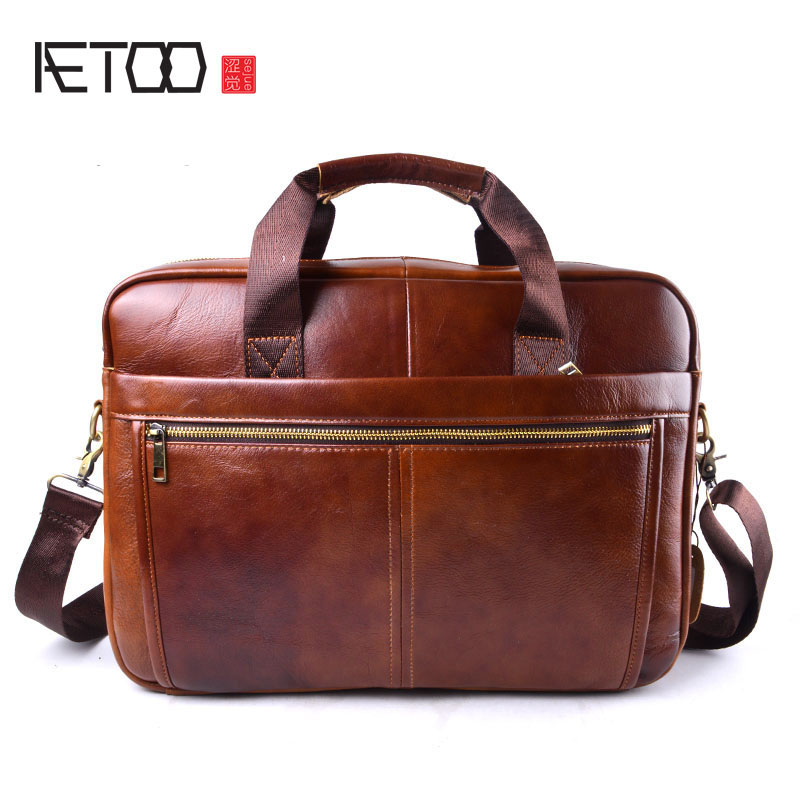 AETOO Handbag Men Bag Genuine Leather Briefcases Shoulder Bags Laptop Tote Men Crossbody Messenger Bags Handbags Designer Bag