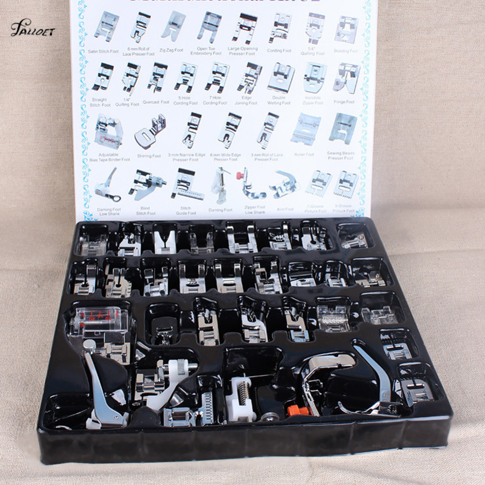 Multifunción 32 piezas prensatelas maquinas de coser pies pie Snap en la costura hogar herramientas de costura Set Box 2018 Dropshipping