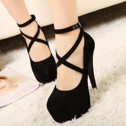 Womens High Heels Platform Stilettos Black Womens Pumps Ankle Strap Sexy Ladies Party Shoes plus size 35-42 Dropshipping недорго, оригинальная цена