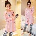 Primavera outono mulheres de confecção de malhas do impressão algodão pato Donald camisola pijama define quente bonito Sleepwear macacão roupas casa