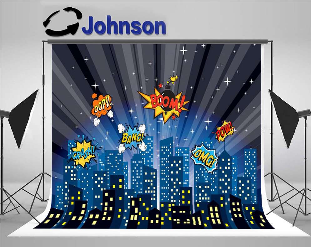 super hero cartoon night Super city skyline comics boom backdrop Vinyl cloth High quality Computer print party backgrounds