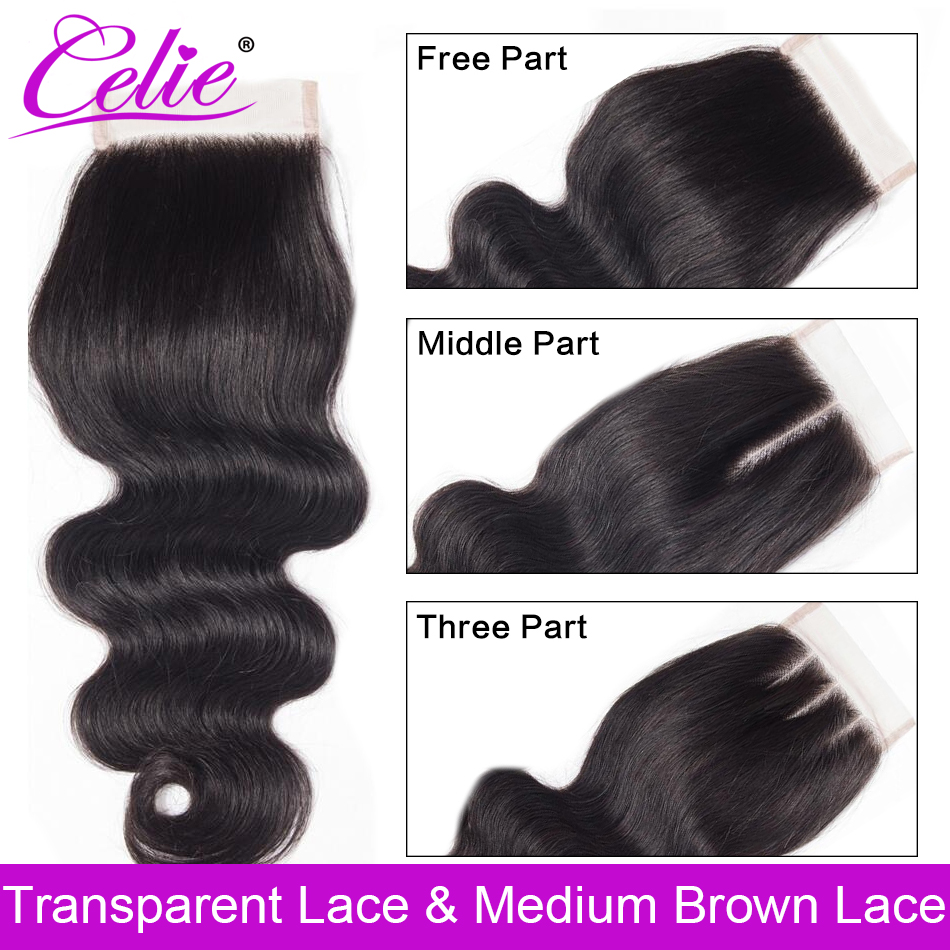 Celie Brazilian Body Wave HD Closure 4x4 Transparent Swiss Lace Closure With Baby Hair Human Hair Closure Free Middle Three Part