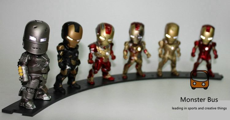 Marvel Iron Man 3 MK 6/3 MK 42 The Avengers Super Hero 10 cm PVC Action Figures Collection Model Toys LED Flash Light Dolls marvel the avengers stark iron man 3 mark vii mk 42 43 mk42 mk43 pvc action figure collectible model toys 18cm kt395
