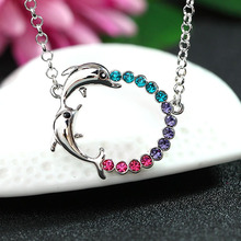 Women Fashion Jewelry Boutique New High-quality Crystal Pendant Double Dolphin Sweater Chain Necklace All-match Female