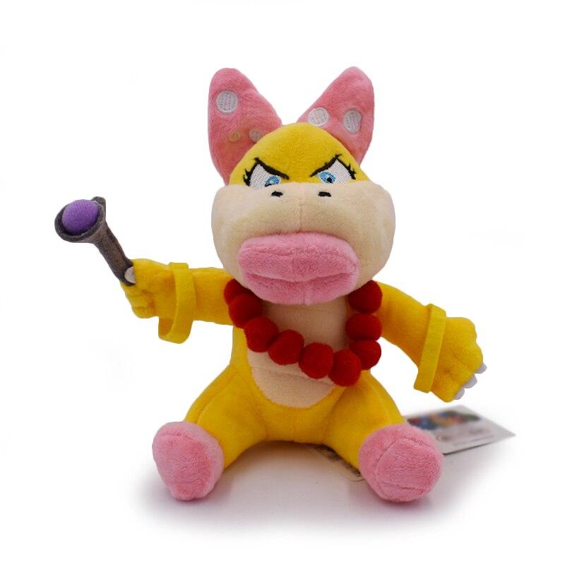 1PCS New Super Mario Bros. 6inch 15cm Plush Toys Doll Figure Wendy O. Koopa Free Shipping