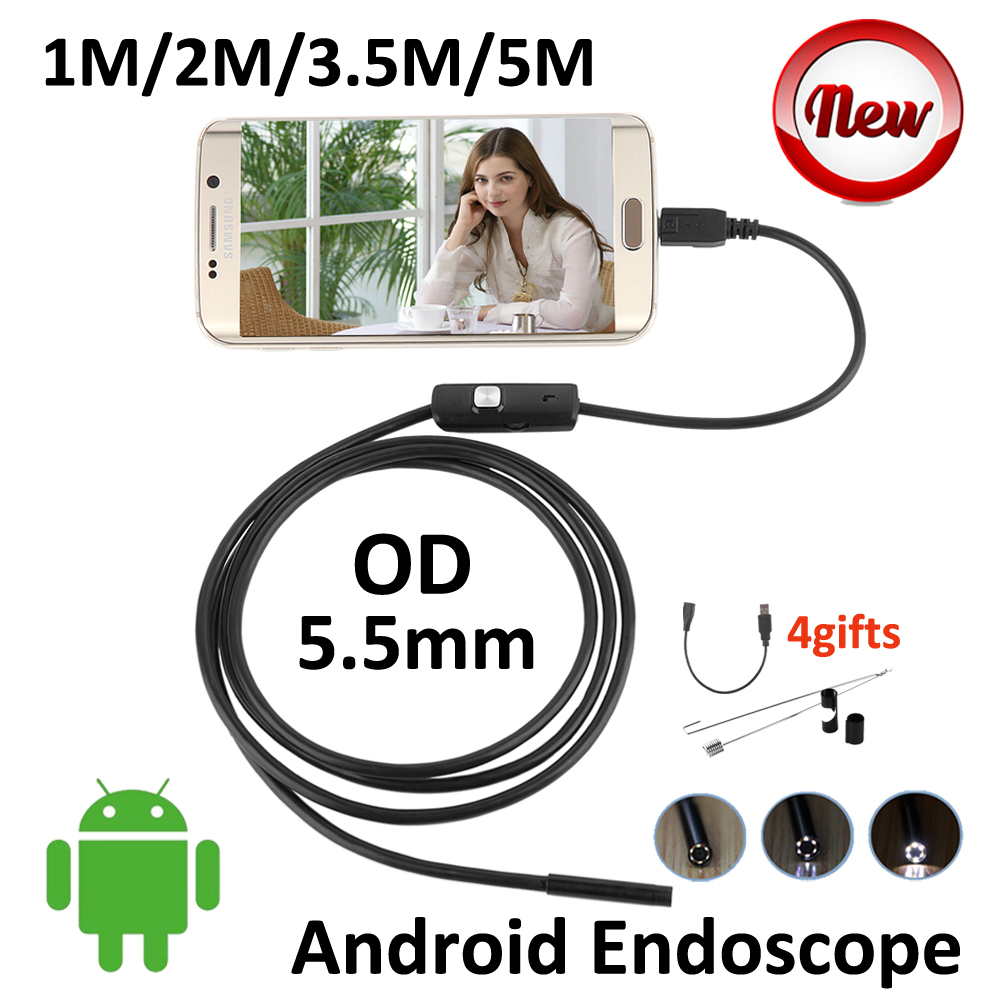 5M Android OTG USB Endoscope Camera 5.5mm OD 3.5M 2M 1M Flexible Snake Pipe USB Inspection Android OTG Borescope Camera endoscope android 5 5mm lens mirc usb otg usb camera 1m 2m 3 5m 5m waterproof snake pipe inspection android usb borescope camera
