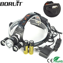 Boruit RJ-5000 XML-T6 R2 12000 LM Headlight 4-Mode Headlamp Power Bank Head Torch Hunting Camping Frontal Lantern 18650 Battery