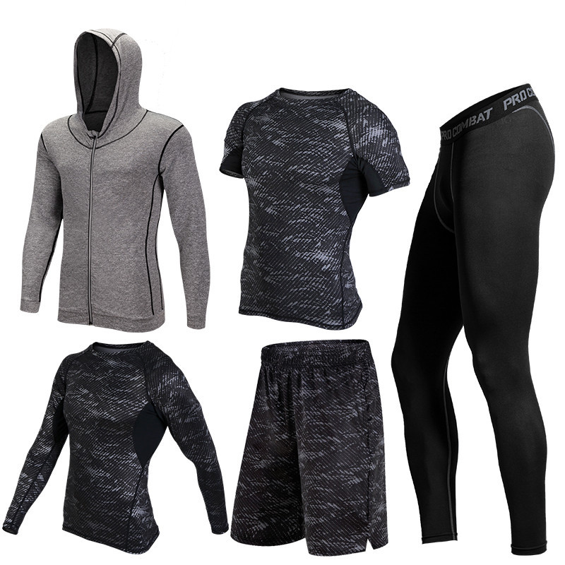 2017 Warm 5pieces/set Sports Running Sets Men Quick Dry Basketball Jogging Suits Compression Sports Gym Fitness Training Clothes ...