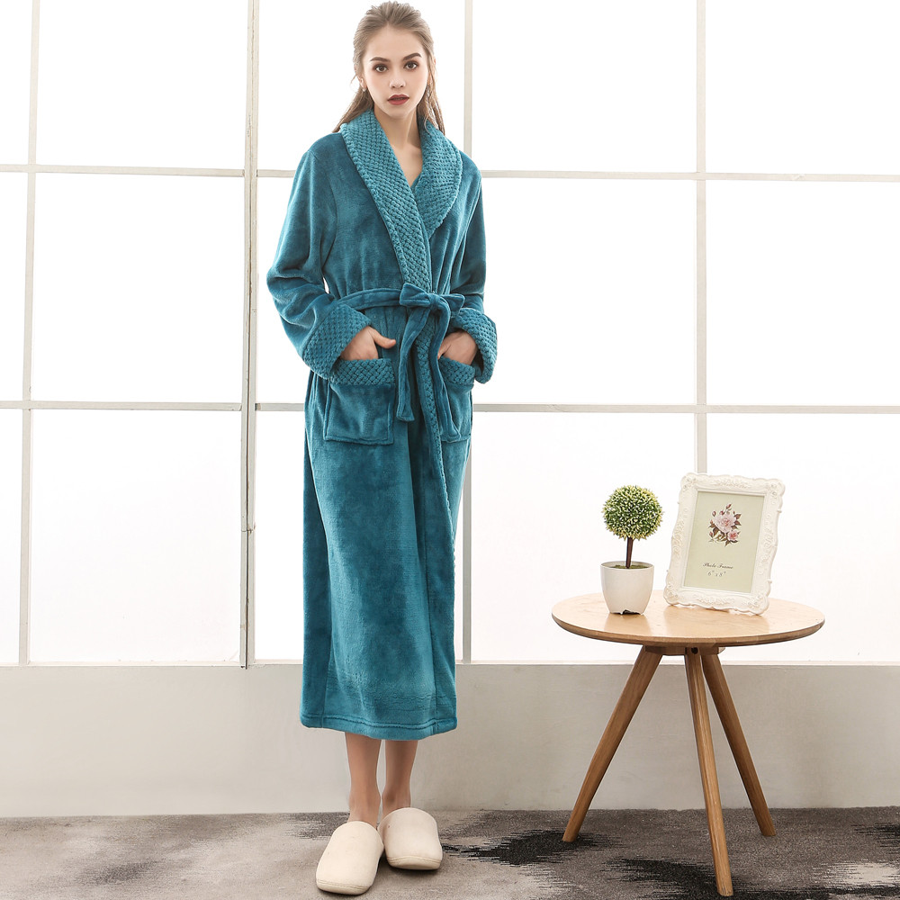 Women's Winter Lengthened Coralline Plush Shawl Bathrobe Long Sleeved Robe Winter Long Bathrobe Dressing Gown Womens Robes Sleep