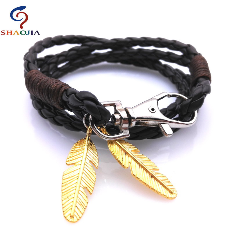 Leather Bracelet Men Brand Whole Bracelets Bangles Charm Gold Feather Man For Women Jewelry In Cuff From