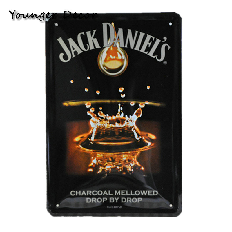 Retro Vintage Wine Beer Whiskey Brands Tin Signs Wall Art Painting ...