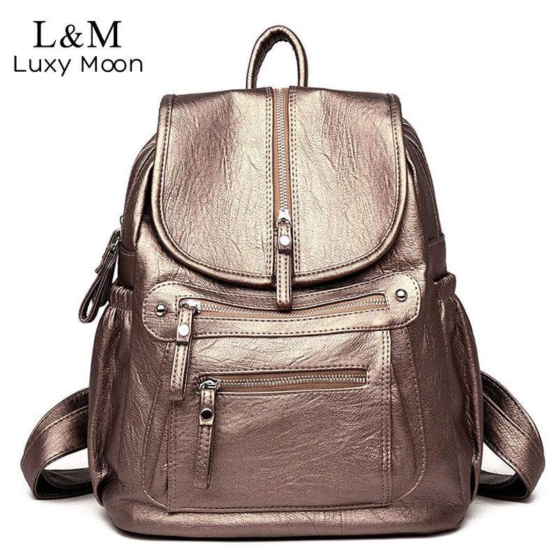 53bfff01b55 US $24.16 42% OFF|Ladies Leather Backpack Fashion Women Travel Backpacks  Luxury Sac A Dos School Backpacks for Girls Black Large Mochilas XA281H-in  ...