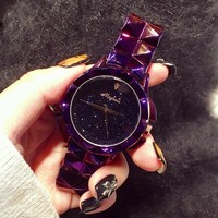 Excellent Qulaity Women Watch Luxury Fashion Crystal Bracelet Watch Female Starry Sky Dress Watch Ladies Colorful