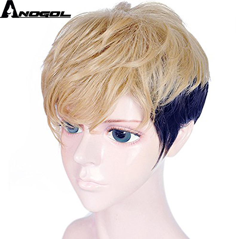 Anogol Natural Short Straight Layered Two Tones Blonde Ombre Purple Synthetic Mens Cosplay Wig For Halloween