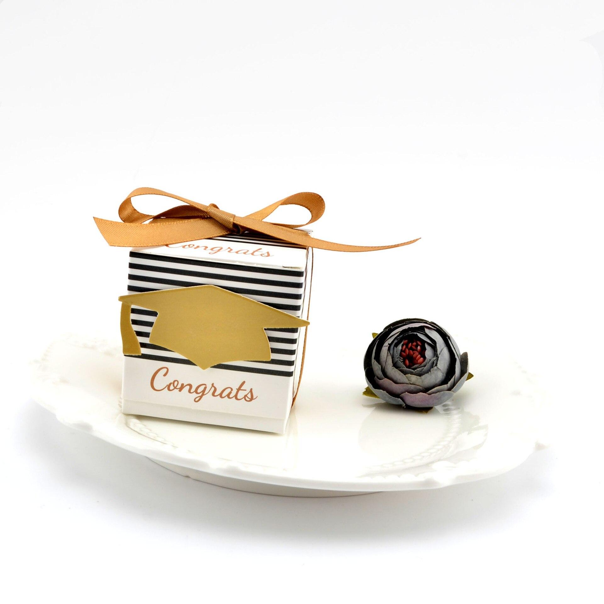50PCS/LOT Pillow Shape Candy Box with Graduation Doctor Hat design ...