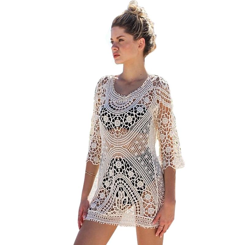 Strand vertuschen crochet Bademode Frauen strand kleid tunika pareo strand frauen badeanzug coverups saida de praia robe plage