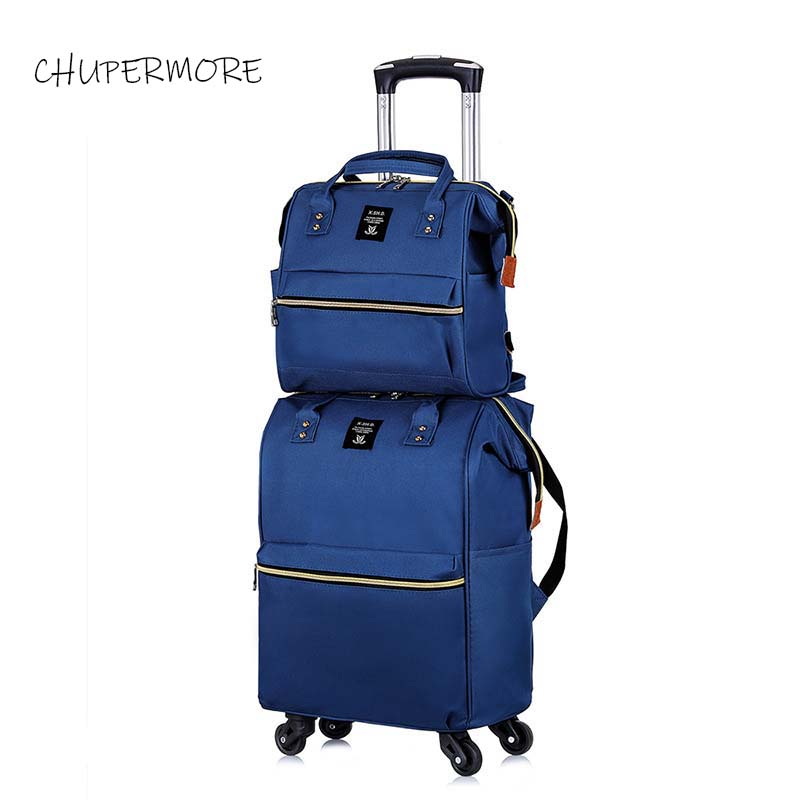 Chupermore ultraléger Oxford bagage à roulettes Set Spinner femmes marque valise roues 20 pouces continuer sur chariot-in Valises from Baggages et sacs    1