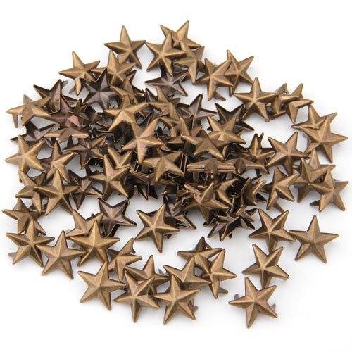 100 Пирамида Шипованный ремень Бронзовая звезда 15 мм для обуви