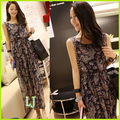 2017 Лето плюс размер женская богемского платья женские шифон печатных пляж платье эластичный пояс полный платье