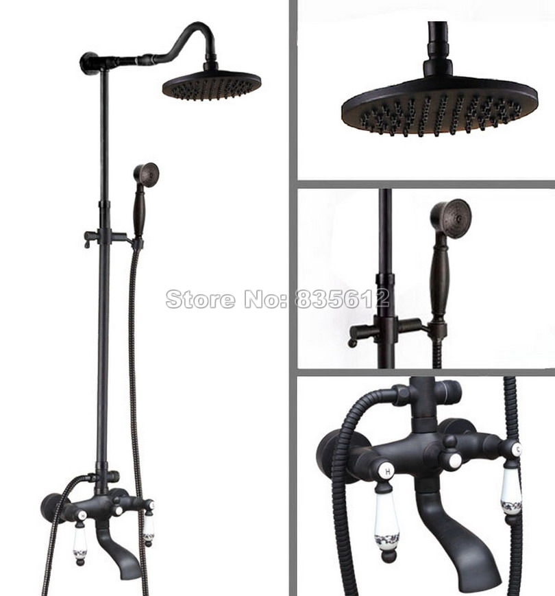 Wall Mounted Black Oil Rubbed Bronze Rain Shower Faucet Set Bathroom Bath Tub Mixer Tap with Shower Head + Hold Shower Whg625
