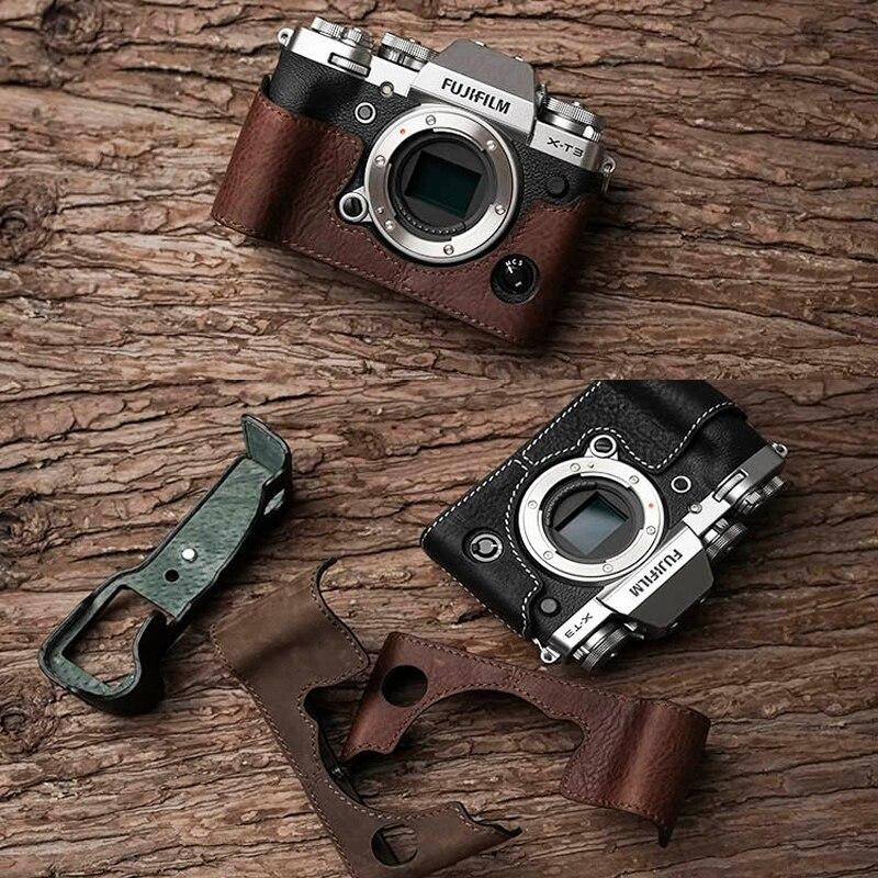 Mr.Stone Brand Genuine Leather Camera Case Half Bag Bodysuit For Fujifilm XT3 XT3 Fuji X-T3 Handmade Camera Bag