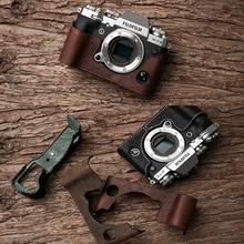 M. Pierre Marque Véritable Appareil Photo En Cuir Demi-Sac Body Pour Fujifilm XT3 XT3 Fuji X-T3 L'appareil Photo À La Main Sac