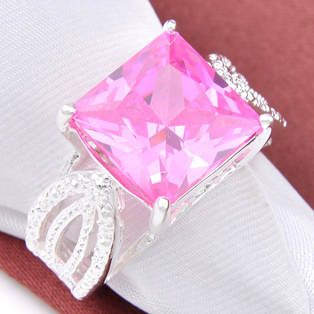 Promotion Jewelry Luckyshine Special Square Shine Pink Kunzite