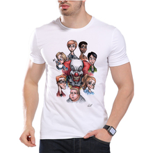 Men's stephen king printed High Quality Tops Tees IT movie TShirt fear will find you Custom it clown male t-shirt clothing D7-6#