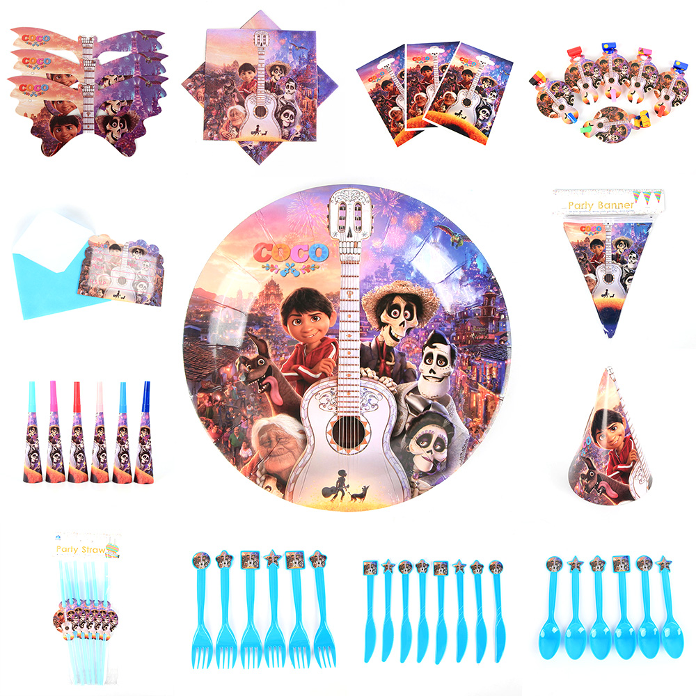 COCO Theme Paper Cup Bag Plate Tablecloth Straw Blowout Balloon Banner Cake Topper Card Show Party Decoration Supply Favor Gift image