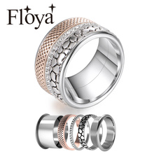 Floya Stainless Steel Rings Vintage Band Zircon Ring Rose Gold Luxury Interchangeable Bijoux Femme Lovers Ring