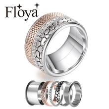 Floya paslanmaz çelik yüzükler Vintage bant zirkon yüzük gül altın lüks değiştirilebilir Bijoux Femme severler yüzük