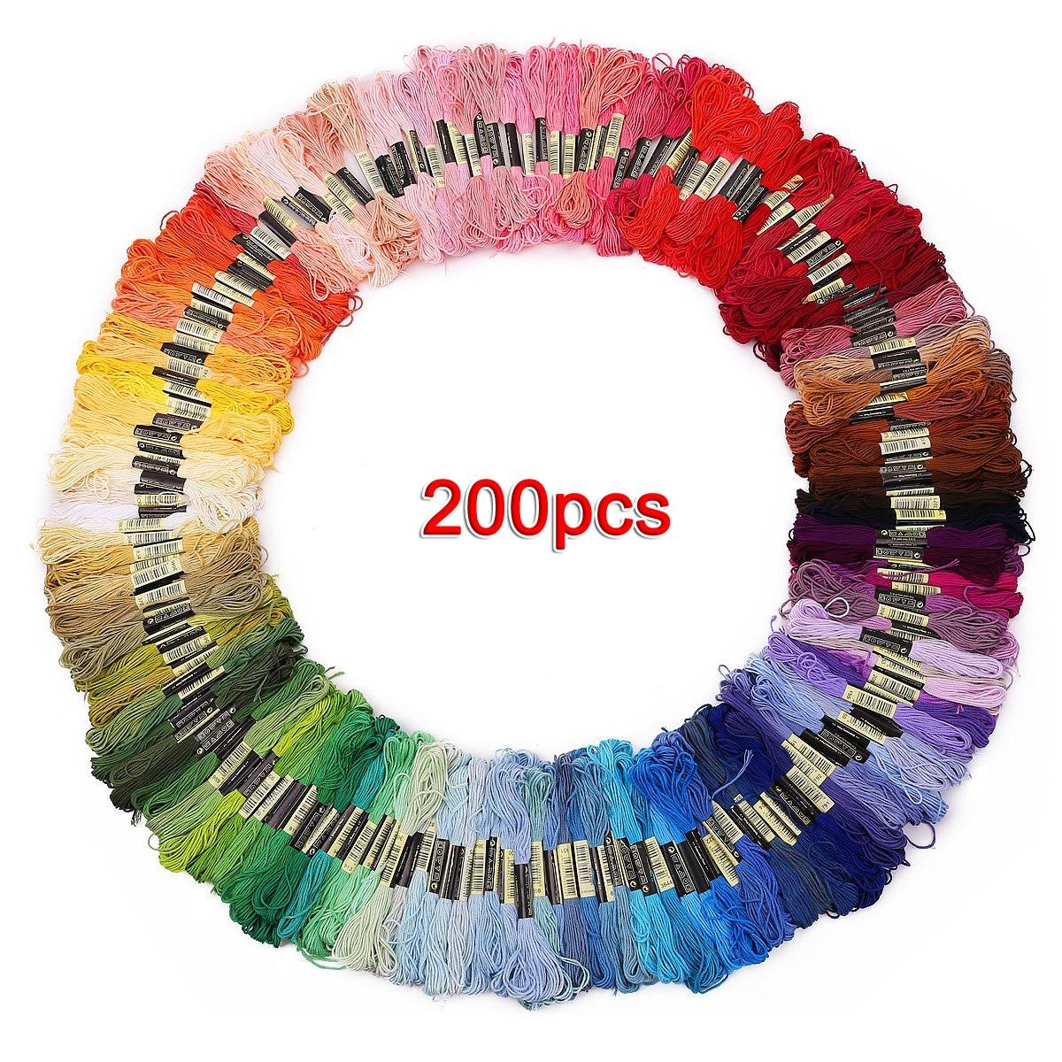 200 madejas de hilo multicolor para la puntada cruzada bordado crocheting