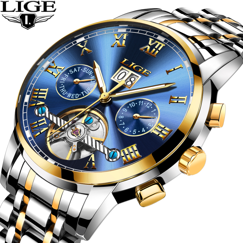 LIGE Mens Watches Top Brand Luxury Automatic Mechanical Watch Men Full Steel Military Sport Waterproof Watches Relogio Masculino unique smooth case pocket watch mechanical automatic watches with pendant chain necklace men women gift relogio de bolso