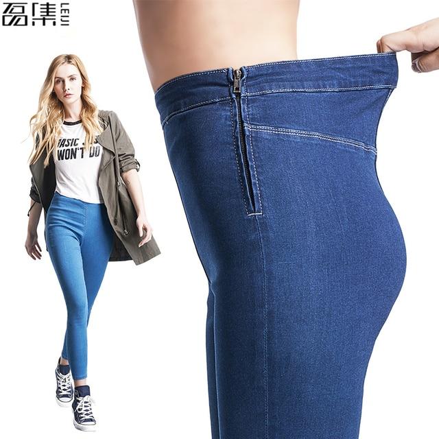 f1b6d41fe90179 R$ 56.25 48% de desconto|Outono Calça Jeans mulher de cintura alta Plus  Size zipper calças Elásticas Capris jeans Skinny jean Femme em Calças de ...