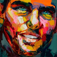 Abstract Face Oil Painting Neilly Knife Modern Wall Artworks Decoration For home Printed On Canvas  Customized