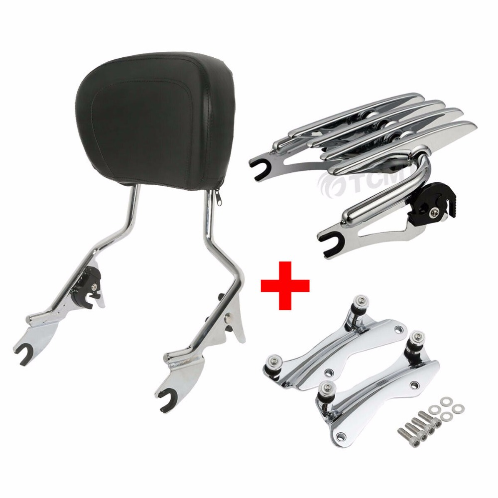 Image 3 - Motorcycle Backrest Sissy Bar Luggage Rack + Docking For Harley Touring Road King Street Glide Electra Glide CVO Ultra 2014 2019-in Covers & Ornamental Mouldings from Automobiles & Motorcycles