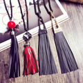 2016 New Bohemia Style Women Long Necklaces High Quality Alloy Leather color Tassels Necklaces Pendants  accessroies