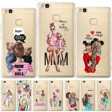 Brown Hair Baby Mom Girl Queen Soft TPU Cover For Coque Huawei P8 P9 P10 Plus P20 P30 Lite Mate 10 20 Lite Pro Silicon Case Capa(China)