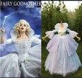 На заказ взрослых женщин хэллоуин косплей костюмы принцессы свадьбы ну вечеринку синий золушка онлайн крестная платье